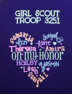 Girl Scout Troop T-shirt! Customize with the names from your troop, team or class!