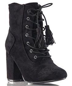 ROF Women Vegan Suede Lace Up Fringe Block Heel Almond Toe Ankle Booties BLACK (8.5) $54.95