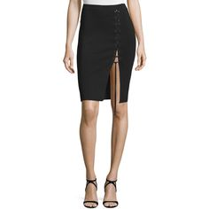 Alexander Wang Lace-Up Pencil Skirt ($420) ❤ liked on Polyvore featuring skirts, pitch, stretchy skirt, alexander wang skirt, alexander wang, knee length pencil skirt and straight pencil skirt