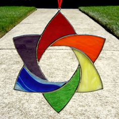 Stained Glass Rainbow Star by bigblued on DeviantArt Stained Glass Ornaments, Stained Glass Christmas, Stained Glass Suncatchers, Stained Glass Designs, Stained Glass Panels, Stained Glass Projects, Stained Glass Patterns, Leaded Glass, Stained Glass Art