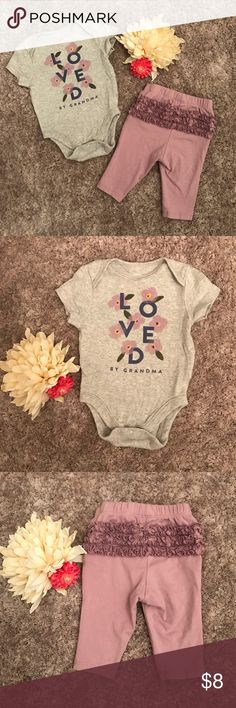 Loved by Grandma outfit  Adorable Loved by Grandma onesie and purple ruffle bottom leggings from Old Navy. Size 0-3 months. Lightly worn, EUC. Old Navy Matching Sets