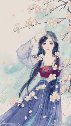 girl underneath cherry blossom