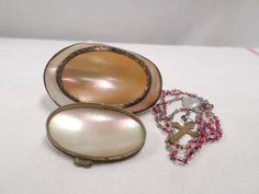 French Antique mother of pearl and brass Rosary Box with a rosary inside Rosaries, French Vintage, French Antiques, Gemstone Rings, Boxes, Pearl Earrings, Pure Products, Gemstones, Handmade