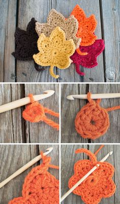 Fall Leaves Free Crochet Pattern.