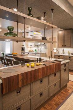 Kitchen Tops, Kitchen Shelves, Diy Kitchen, Kitchen Interior, Kitchen Dining, Kitchen Decor, Glass Shelves, Kitchen Ideas, Cuisines Diy