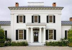 stair runner by Stark | The front façade of the Hudson Valley home, in classic Greek Revival ...