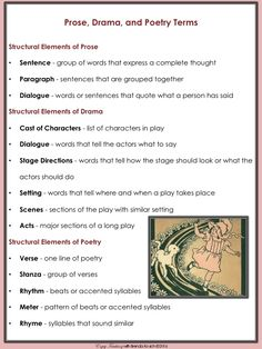 Hey, fourth grade teachers! Here's a freebie for teaching RL.4.5. Your students will easily grasp the difference between prose, poetry, and drama with ideas posted on Enjoy-Teaching.com.
