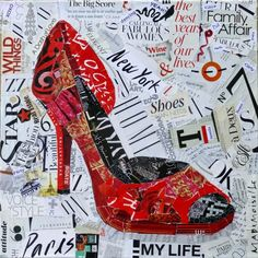 Nancy Standlee Fine Art: My Life: Yeah! Torn Paper Collage, High Heel Shoe by Texas Artist Nancy Standlee