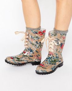 Glamorous Floral Print Lace Up Wellington · Women Shoes ...