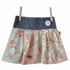 inspiration skirt- prints with denim band, very cute
