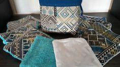 Pochon et ses 10 lingettes lavables motif azteque 5 lingettes en eponges et 5 en minky