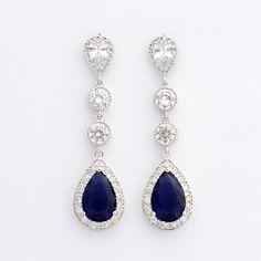 Blue Wedding Jewelry Large Long Bridal Earrings by poetryjewelry