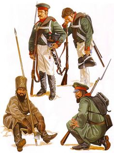 """""""The Russian Army: • Grenadier, field dress, winter 1812 • Musketeer, field dress, summer 1812 • Private, Moscow Opolchenie • Private, St. Petersburg Opolchenie"""",  Paul Hannon"""