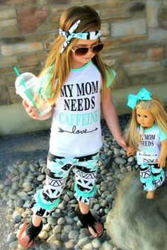 Let's Face it Moms, we all need some caffeine!  Your little girl will look simply darling in this Aztec boutique My Mom Needs Caffeine 3 piece set.    Made of soft cotton, these are so comfy yet simple adorable.   *Includes Kids Outfit Only   Sizes 2T-6 Includes Tee, Pants and Headband Runs True to Size Material:  100% Cotton