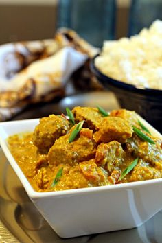 Rich and delicious Indian Chicken Korma! Marinate ahead of time to make a quick weeknight meal. My husband STILL raves about this recipe!