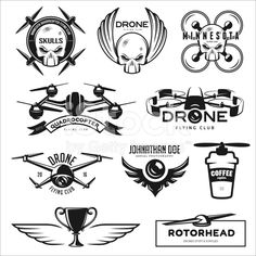 Vector set of drone flying club labels, badges, design elements. royalty-free stock vector art
