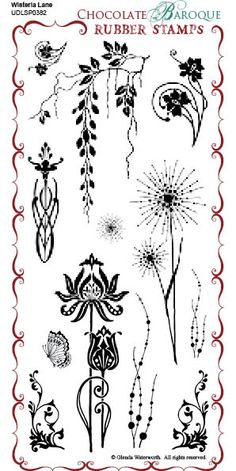 Wisteria Lane Rubber Stamp sheet - DL - Chocolate Baroque