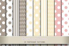 Strawberry Mousse by Digital Art Creations on Creative Market... #photoshop #photoshoppattern #dotspattern #dots #stripes #stripespattern #chevron #softcolors #pastels #creativemarket #cute #girly #digitalartcreations