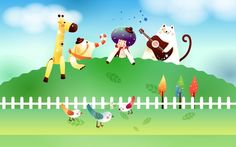 Painting Clowns Animal Fairy Tale Fantasy Cartoon background pc Vector