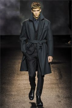 Salvatore Ferragamo F/W 2013 a) I want to know what this jacket is made out of; and b) black with midnight blue? Looks surprisingly good. I may have to reconsider the black suit and whether it should only be worn for black tie occasions.