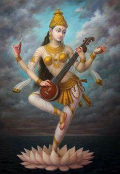 Goddess Saraswati devi Saraswati: Goddess of Knowledge & Arts