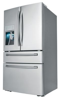 Samsung Electronics Co. today announced that it is bringing the premium taste of fresh, crisp sparkling water right to the kitchen with the Samsung Four-Door Refrigerator featuring the industry's first-ever automatic sparkling water dispenser. Cool Kitchen Gadgets, Cool Kitchens, Four Door Refrigerator, Cocina Office, Samsung Fridge, Soda Fountain, Cool Stuff, Water Dispenser, Cool Tech