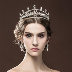 Chic Royal Regal Vintage Special White Gold Plated Simulated Pearls King Tiara Crown Veil Crowns For Wedding Prom Parties(China (Mainland))