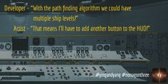 "Developer - ""With the path finding algorithm we could have multiple ship levels!"" Artist - ""That means I'll have to add another button to the HUD!"" #gamedev #indiedev #nonagonthree"