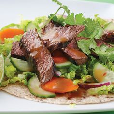 Sirloin Beef Wraps with ample cilantro and a spicy honey dijon sauce. Clean Eating. (http://www.cleaneatingmag.com/Recipes/Recipe/Sirloin-Beef-Wraps.aspx)