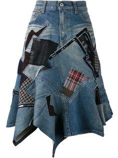 Junya Watanabe Comme Des Garçons Patch Denim Skirt - The Parliament - Farfetch.com