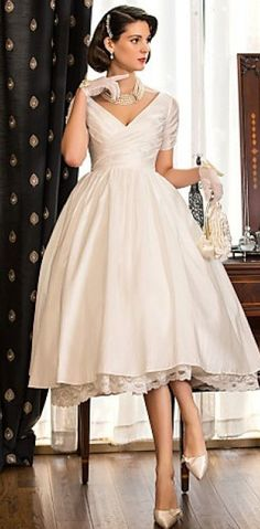 Tea Length Wedding Dress, cute and elegant...can I have one please?!?!
