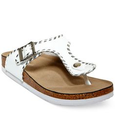 Madden Girl Booming Whipstich T-Strap Footbed Sandal synthetic white, black sz7.5 34.30 30%off thru 10/24 (24.01)