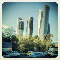 Cuatro Torres - Madrid ---> Skyscraper, Multi Story Building, Instagram Posts, Sky, Skyscrapers