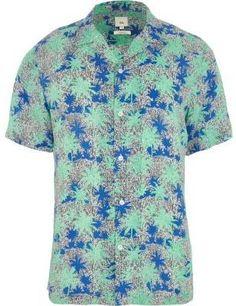 River Island Mens Green palm print short sleeve shirt