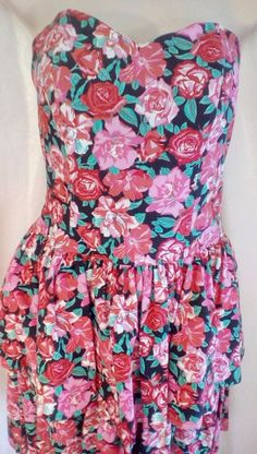 Laura Ashley Strapless 10 Cotton Roses Ruffles Proms Party Vintage Flounce #LauraAshley #Corset #Clubwear