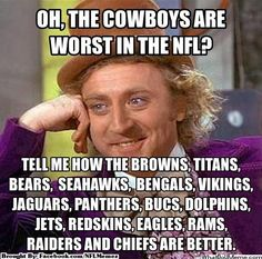Take that!  And leave my 'Boys alone!  Go Cowboys!!!!<<<<I don't even like the Cowboys (Who Dat) but this is really so true