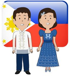 Cartoon of a Happy Filipino Girl in a Traditional Costume ...