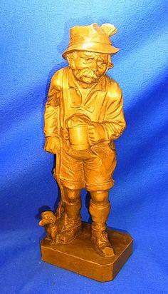 Vintage German Wood Carved Bavarian Man with Beer Stein & Dachshund Figure