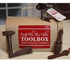 Elves Edible Toolbox Tag, Loralee Lewis, Santa's Workshop, Gingerbread decorating, Christmas cookies, Holiday party, North Pole Mail