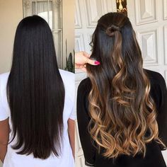 Hair Color Highlights, Ombre Hair Color, Brown Hair Colors, Brown Black Hair Color, Balayage Brunette, Brunette Hair, Balayage Hair, Balayage Caramel, Bayalage