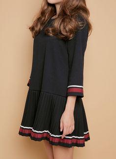 プリーツ切替ミニワンピース(ブラック)   レディース・ガールズファッション通販サイト - STYLENANDA