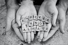 Forever and always love quotes black and white couples marriage ring engagement
