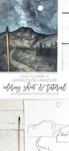 DIY Freebie Printable Watercolor Coloring Sheet