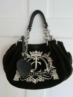 Juicy Couture Black Velvet Handbag Purse Medium Size #JuicyCouture #Satchel