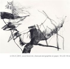 Christine Hiebert- wood block ink, charcoal and graphite on paper