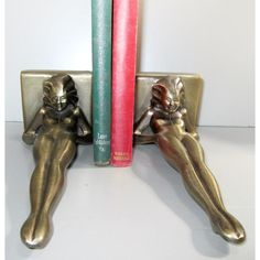 Frankart Sarsaparilla reclining nude Art Deco bookends, cast aluminum finished in antique brass