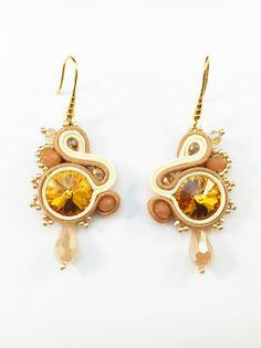 Soutache Dangle Earrings-Long Dangle Gold Earrings-Dangle Earrings for Girls-Yellow-beige-gold with Swarovski elements-Soutache Jewelry