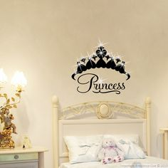 This Princess crown with Swarovski Elements #wall #decals can give you ideas for decorating. The Swarovski Elements shown are not included in the delivery . They can easily be ordered as accessories to your favorite wall #sticker