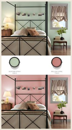 Are you trying to decide between a warm and cool color? Because green is cool and pink is warm, they create a very different feeling in this bedroom. The green room seems more relaxed, while the pink room seems more invigorating.  Top: Seafoam Spray 430A-2 Bottom: Mellow Coral 170D-5