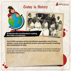 Today In History #women who #contributed in making the #Indian #Constitution #todayhistory #didyouknow #didyouknowthat #edugorilla #education #learning #students #teachers #success #inspiration #motivation #knowledge #WorldWar #WorldWar1